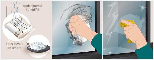 Dessin nettoyage vitre cendre